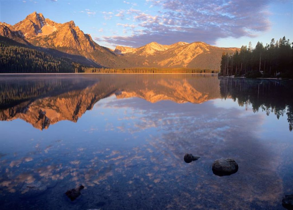 Sawtooth mountains reflected in Stanley lake.