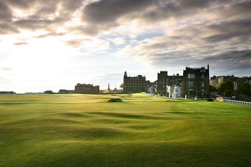 The 18th tee at the Home End of the Old Course at St Andrews Links